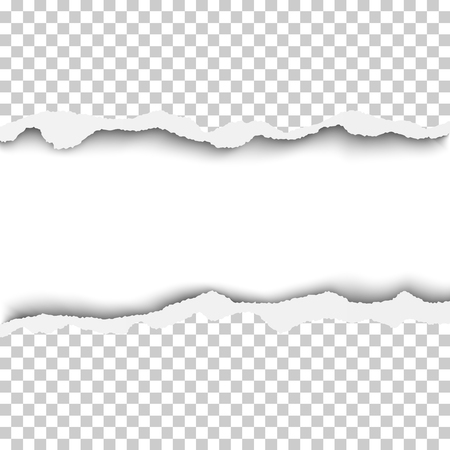 Vector snatched horizontal lane with torn edges in sheet of transparent and checkered paper. White background of the resulting window.Template paper design. Illustration