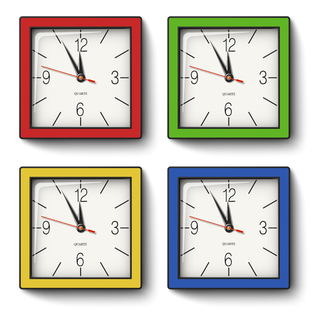 Collection of square wall clocks in red, green, yellow, blue bodies with black edging isolated on white background