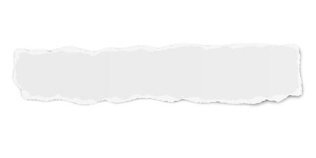 Feu follet de déchirure de papier oblong de vecteur avec une ombre douce isolé sur fond blanc
