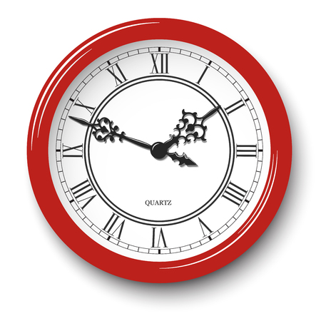Vector elegant roman numeral wall clock in red glossy body with soft shadow isolated on white background