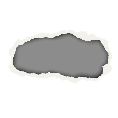 Snatched hole in white paper sheet. Background of the resulting window is dark gray. Edges of the hole have soft shadow. Template paper design.