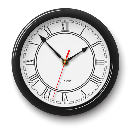 Classic noble wall clock with roman numerals in black glossy body isolated on white background Illustration