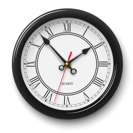 Noble wall clock with roman numerals in black glossy body isolated