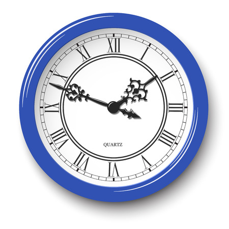 Vector elegant roman numeral wall clock in blue glossy body with soft shadow isolated on white background