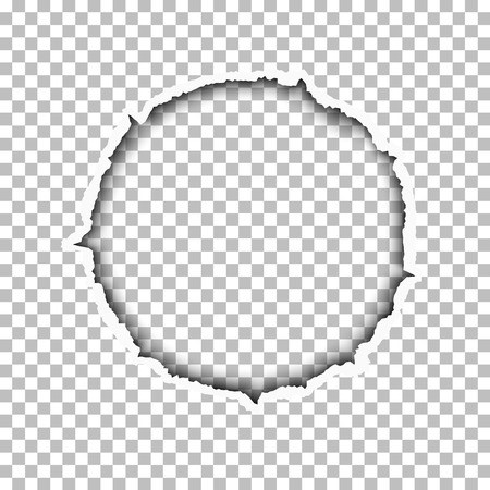 Tattered round hole made in transparent background. Template paper design.