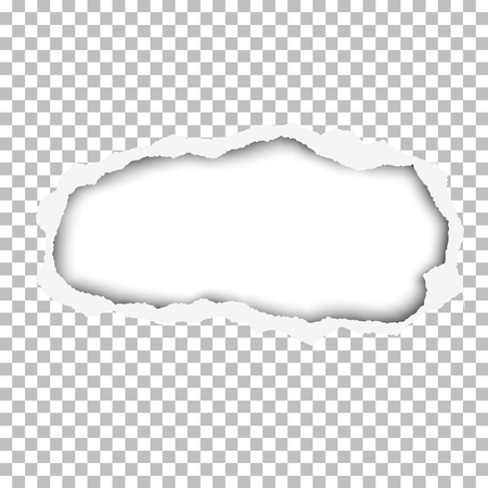 Snatched hole in paper sheet. Main background is transparent and checkered, and the resulting window is white. Edges of the hole have soft shadow. Template paper design. Illustration