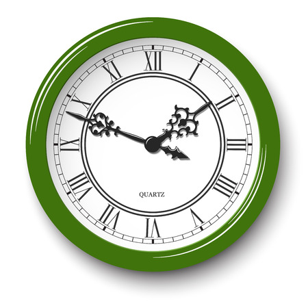 Vector elegant roman numeral wall clock in green glossy body with soft shadow isolated on white background