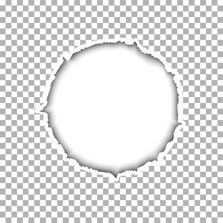 A ragged round hole with soft shadow in a sheet of paper. White backdrop of the resulting window. Template paper design.