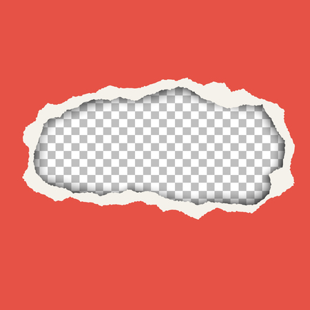 Snatched hole in red paper sheet. Background of resulting window is transparent and checkered and has space for text. Torn edges of the hole have soft shadow. Template paper design for ad and other aims.