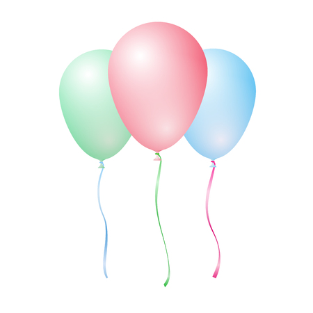 Three vector color inflatable balloons - red, green, blue - isolated on white background Illustration