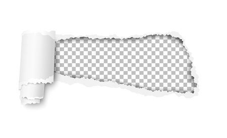 Vector snatched hole in white sheet of paper with soft shadow and transparent background in the resulting window