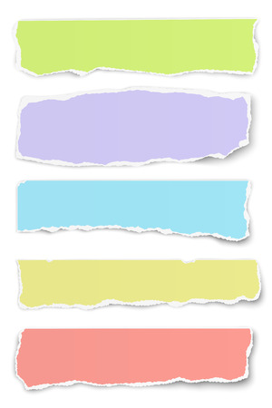 Collection of vector oblong torn different colors paper tears isolated on white background Ilustrace