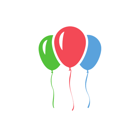 Color inflatable balloons isolated on white background. Vector icon.