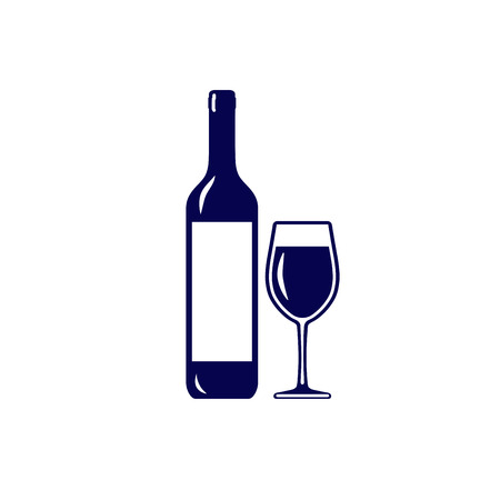 Wine bottle with glass icon isolated on white background
