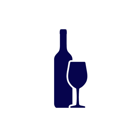Wine bottle and wineglass icon isolated on white background