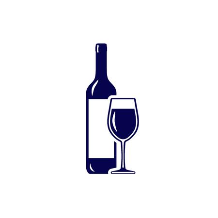 Wineglass and wine bottle icon isolated on white background Illustration