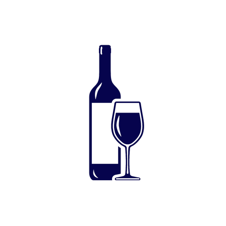 Wineglass and wine bottle icon isolated on white background Çizim