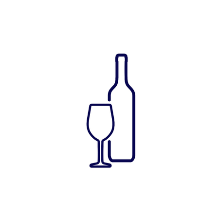 Silhouette wine bottle and wineglass icon isolated on white