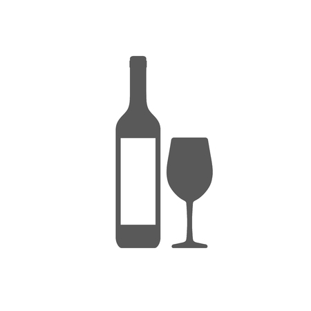 Wine bottle with wineglass icon isolated Çizim