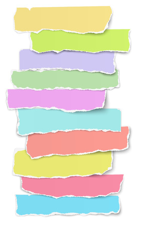Collection of elongated torn color paper scraps placed on white background