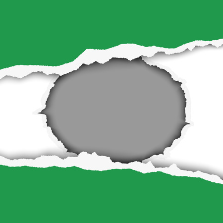 Snatched middle of green sheet of paper with torn edges and soft shadow. Round hole in second white layer with gray background. Double bottom with space for text. Template paper design.