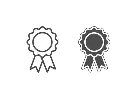White and black award icons isolated