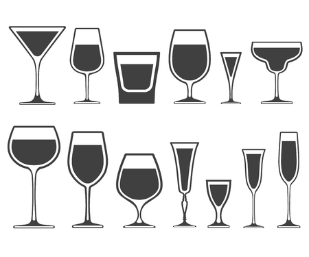 Set of wineglass and glass different shapes icons with poured liquid inside isolated Illustration