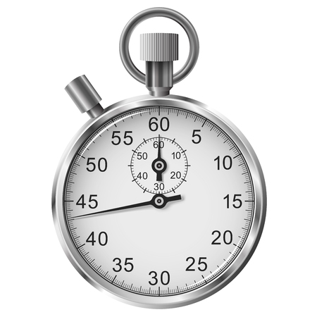 Vector simple classic stop watch isolated on white background Illustration