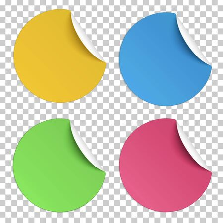 Set of vector color round paper stickers with edge curl isolated on transparent background. Light from upper right. Illusztráció