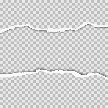 Geschnappte Mitte aus transparentem Papier mit zerrissenen Kanten und Platz für Text, Werbung und andere Zwecke. Vektorvorlage Papierdesign.