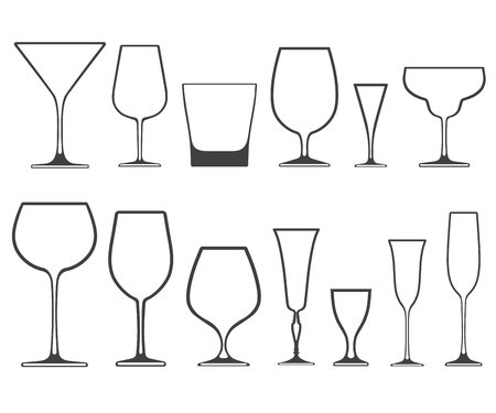 Empty wineglasses and glasses of different shapes with no filling isolated on white background. Çizim