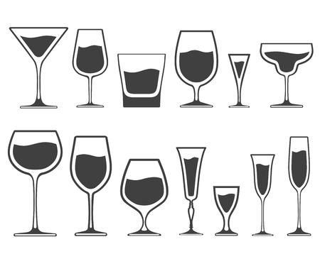 Ensemble d'icônes de verres à vin et verres de différentes formes avec du liquide à l'intérieur isolé sur fond blanc