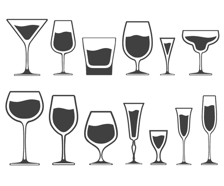 Set of icons of wineglasses and glasses of different shapes with liquid inside isolated on white background