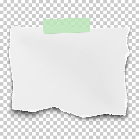 Vector square ragged paper fragment with soft shadow placed on transparent checkered background