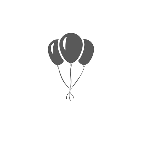 Gray inflatable balloons tied to each other and isolated on white background. Vector icon.