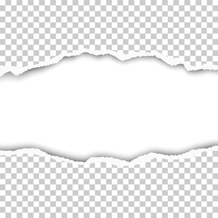 Snatched middle of transparent paper with torn edges, soft shadow and space for text. Damaged sheet with white background for ad and other aims. Template paper design.