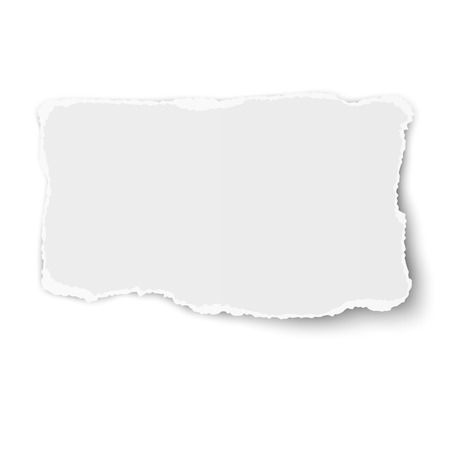 White rectangular torn paper tear with soft shadow isolated on white background