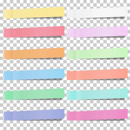 Set of pastel color sticky notes, stickers isolated on transparent background