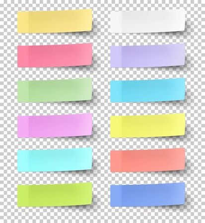Colour sticky notes isolated on transparent background