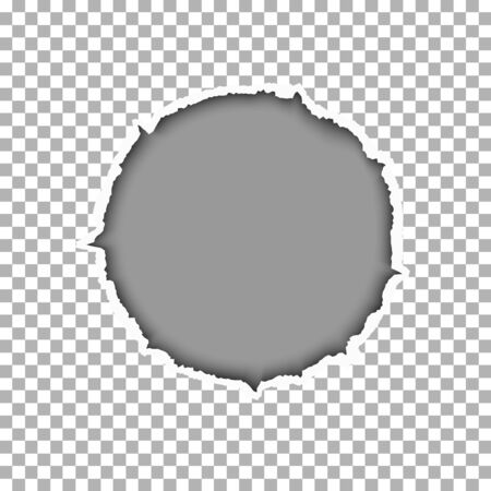 Ragged round hole in transparent sheet of paper and gray backdrop of the resulting window. Vector template paper design.
