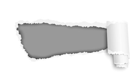 Snatched hole in white sheet of paper with dark gray background and soft shadow. Vector template paper design.