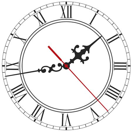 Elegant clock face with roman numerals, figured hands and red second hand isolated on white background Vektorové ilustrace