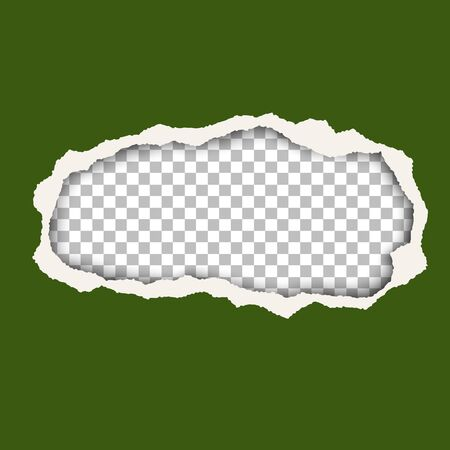 Vector snatched hole in green foliage color paper sheet. Transparent background of resulting window has space for text or ad. Torn edges of the hole have soft shadow. Template paper design.