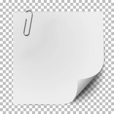 White note paper with glaring metallic clip isolated on transparent background