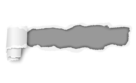 Ragged hole in piece of white paper with gray background under it and paper curl. Vector template design.
