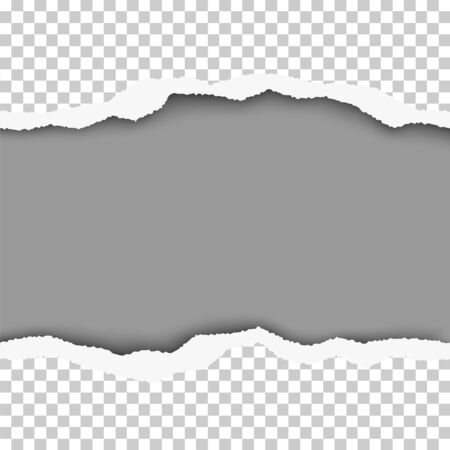 Vector snatched middle of transparent checkered paper with gray background and space for text or ad. Template paper design.