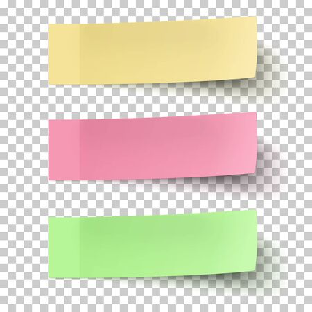Yellow, red and green sticky notes isolated on transparent background