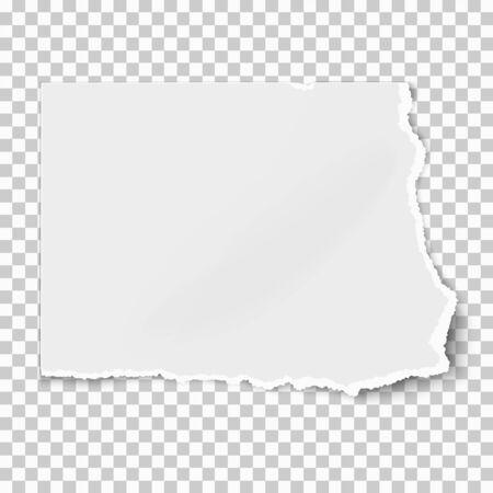 Strappo di carta quadrato bianco isolato su sfondo bianco con ombre morbide. Illustrazione vettoriale. Vettoriali