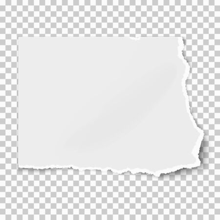 White square paper tear isolated on white background with soft shadow. Vector illustration. Векторная Иллюстрация