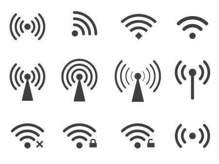 Set of wireless wifi icons isolated on white background Ilustração